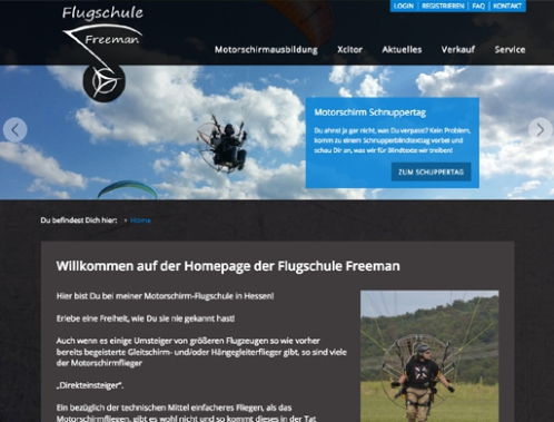 Screenshot Flugschule Freeman