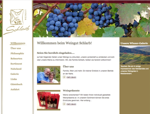 Screenshot Weingut Schlarb